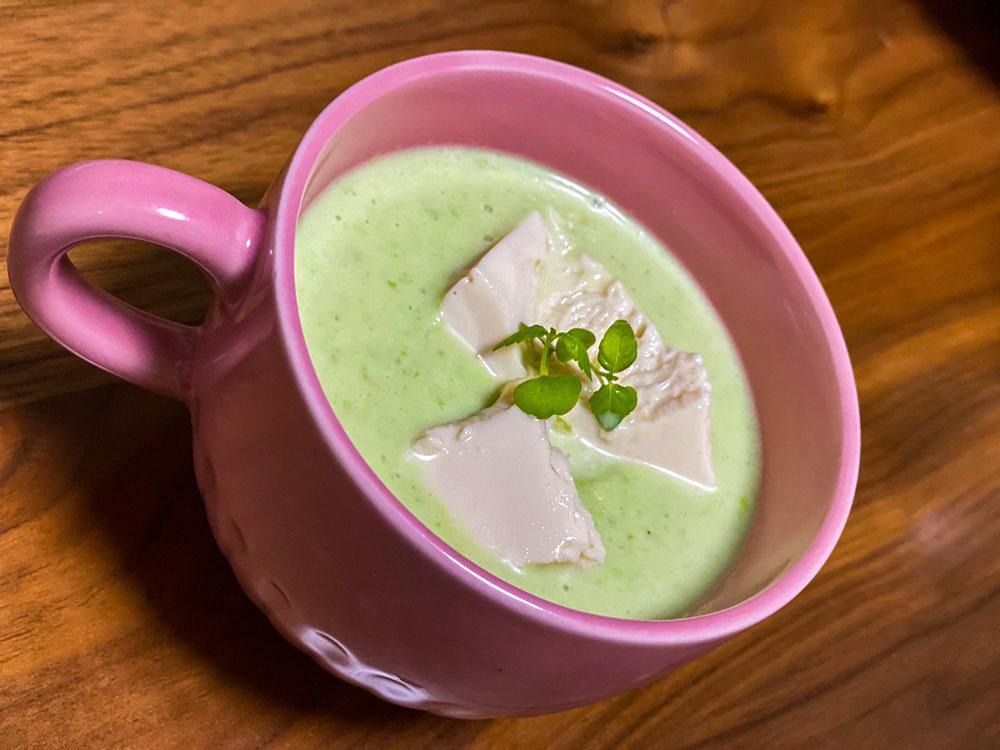 えだまめとミルクの冷製プロテインスープ